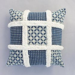 Indigo Dabu Tufted Chair Pillow Cushion Cover