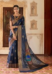 Extraordinary Silk Weaving Embroidered Party Wear Saree