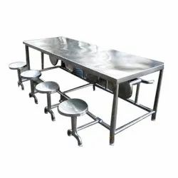 Stainless Steel Canteen Table, Seating Capacity: 8