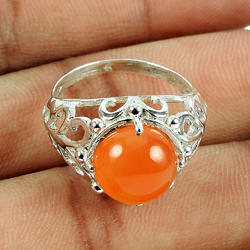 Prominent Carnelian Ring 925 Sterling Silver