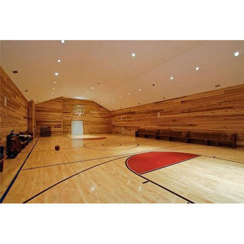 Red And Blue And Orange Basketball Wooden Court Flooring Service Rs
