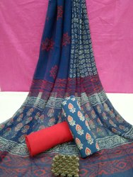 Exclusive Bagru Hand Block Printed Cotton Dress Material With Chiffon Dupatta