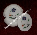 Marble Coaster Semi Precious Stone Inlay Pieces