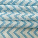 Sky Blue Zig Zag Hand Block Print Natural Color Cotton Fabric