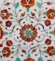 Floral Design Marble Inlay Round Dining Table Top