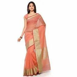 Plain Ladies Silk Cotton Saree, 5.5 m (separate blouse piece)