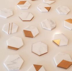 Brass Inlay Marble Coasters