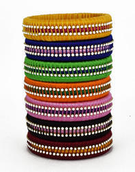 Multicolor moti Work Silk Thread Bangle