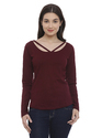 Ladies Full Sleeve Maroon T Shirt