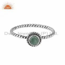 925 Silver Oxidized Emerald Gemstone Antique Rings