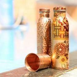 Printed Copper Hammered Bottle