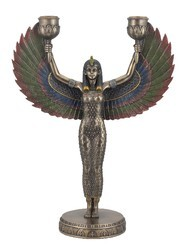 Winged Egyption Goddess Double Candle Holder