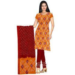 Orange Stylish Bandhej Suit