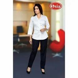 Plain Cotton White Ladies Formal Shirts, Size: XL