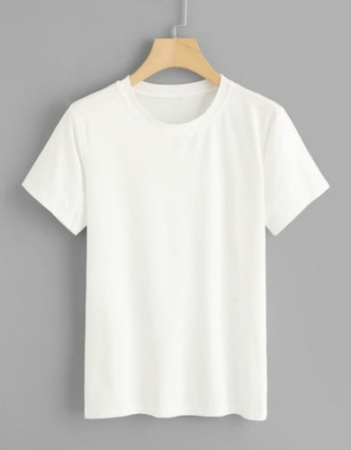 9d17f3878e9 Plain White Ladies Round Neck T Shirt