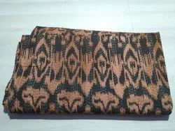 Brown and Black Printed Kantha Quilt
