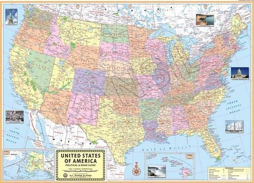 Laminated United States Map.Multicolor Printed Paper Laminated United States Of America For Wall