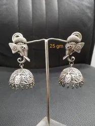 Ganesha Jhumka Oxidized Artificial Earring