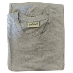 Cotton M Mens Grey Round Neck T Shirt, Packaging Type: Packet