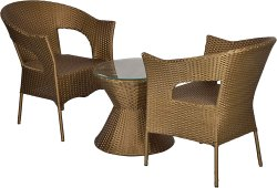 Warivo Outdoor 2 Chair and Table Set with Glass