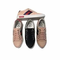 Pvc Pink and Black Ladies Sneaker Shoes, Size: 6-11