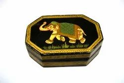 Unique Old Handcrafted elephant Painting Wooden Box Beautiful Decorative.G62-147