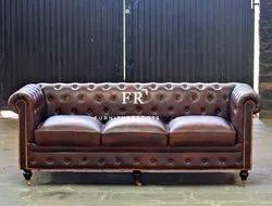 Indian Floor Seating Furniture - Conventional Leather Chesterfield Design Sofa for Restaurants