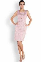 Pink Printed Park Avenue Woman Regular Fit Dress