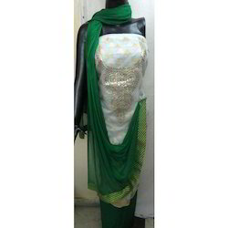 Unstitched Gota Patti Work Green Dupatta Kota Suit