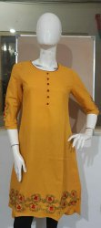 Embroidered Ladies Casual Cotton collar Kurti
