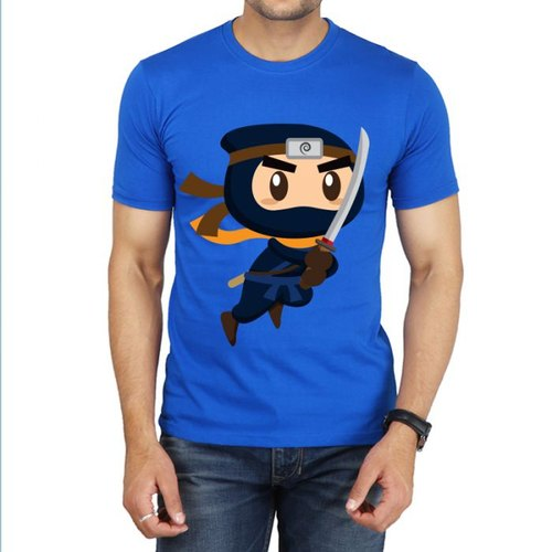 Blue S Mens Printed Cotton T-Shirt
