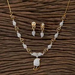 White CZ Two Tone Plated Classic Necklace 406374