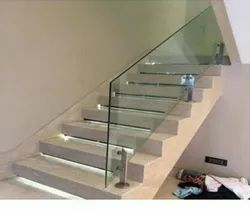 Stainless Steel Polished Glass staircase railings, For Home