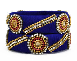 Blue Handmade Silk Thread Bangle
