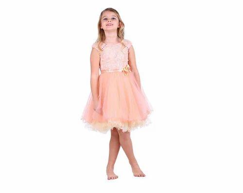 ddac6ba2c Cutecumber Girls Net Embellished Peach Cap Sleeve Dress