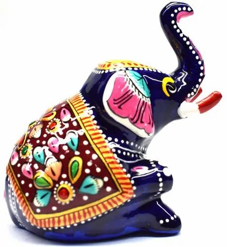 3 Inch Multicolor Brass Elephant Statue, For Home