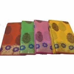 Party Wear Printed Ladies Chanderi Weaving Saree, Packaging Type: Box, 5.5 m (separate blouse piece)