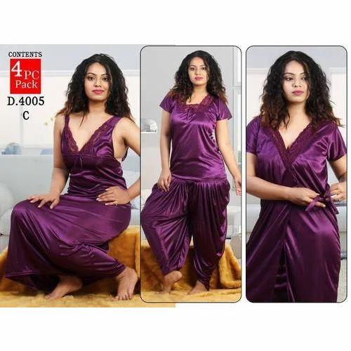 601868c22b Ladies Satin Plain Night Dress Set