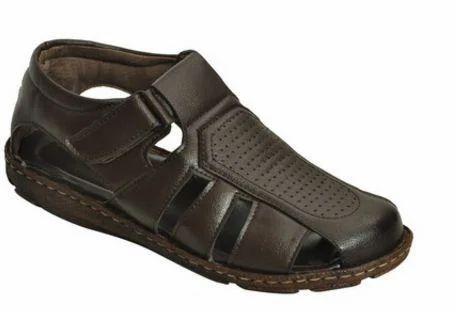 Impakto Black Beige Men Classy Sandal