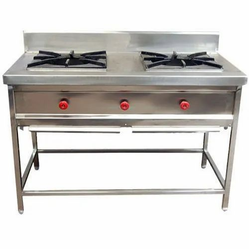 SS Commercial Gas Burner, Two, Size: 48 Inch X 24 Inch X 34 Inch