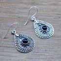 BLACK ONYX GEMSTONE 925 STERLING SILVER JEWELRY BEAUTIFUL EARRING WE-5352
