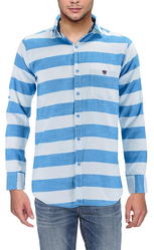 White Blue Collar Neck Adapatti Mens Shirt