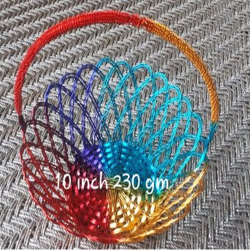 10 Inch Round Jute Colourful Basket, 230 Gm