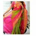 Festive Wear Plain Uppada Green And Pink Silk Saree, 6.3 M (with Blouse Piece), Hand Made