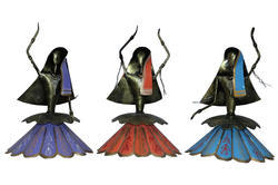 Master Crafts Multicolor Iron Hand Painted Dancing Lady Set Of 3