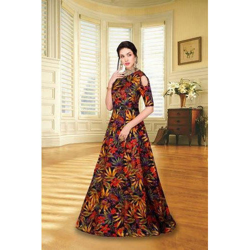 8680a75db328 Western Multicolor Party Wear Printed Long Gown