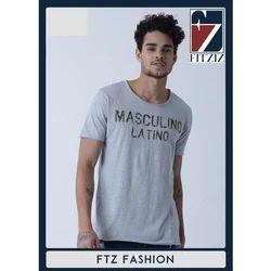 Fitziz Cotton Grey Round Neck T-Shirt