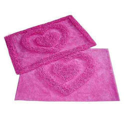 Pink Cotton Tufted Bath Mats