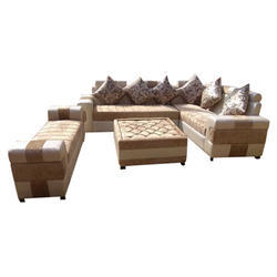 Brown L Shape Stylish Wooden 6 Seater Sofa Set
