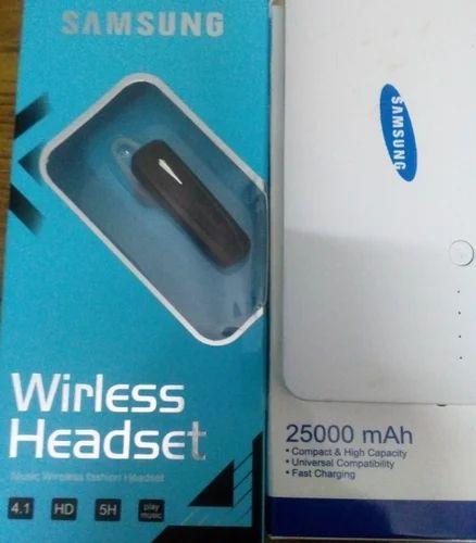 e92c309dc White 25000 Mah Samsung Power Bank And Wireless Bluetooth Headset ...